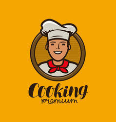 happy chef in hat logo menu design for cafe and vector image