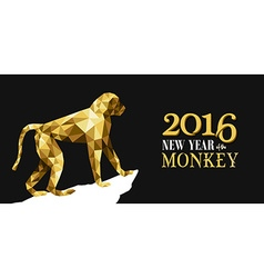 Happy chinese new year monkey gold low poly ape vector