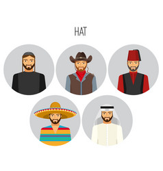 hat types men poster with headwear vector image