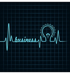 heartbeat make business word and light-bulb vector image
