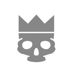 human skull with crown grey icon tattoo sketch vector image