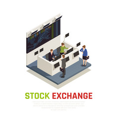 Investing funds stocks isometric composition vector