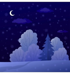 landscape night winter forest vector image