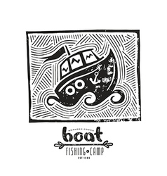 Linocut with a picture of boat vector