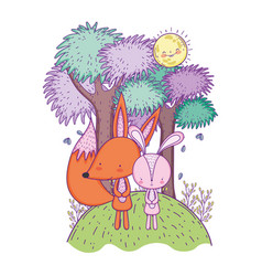 Little fox and rabbit in the landscape characters vector