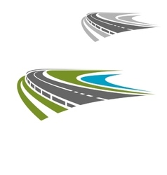 Long highway or road icon vector