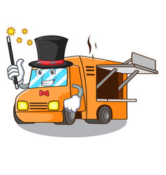 Magician character food truck with awning vector