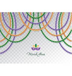 mardi gras beads garlands horizontal decorative vector image