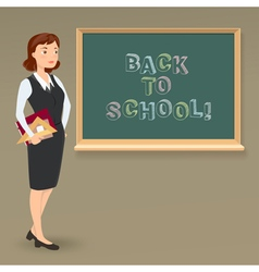 message on blackboard and teacher vector image