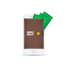 mobile wallet in the smartphone wallet on the vector image