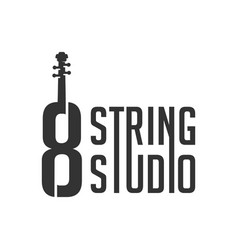 modern guitar logo with number 8 vector image