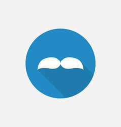 mustache Flat Blue Simple Icon with long shadow vector image