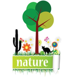 nature with flower art vector image