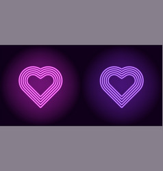 Neon heart in purple and violet color vector