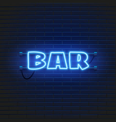 Neon lamp bar banner on brick wall background las vector