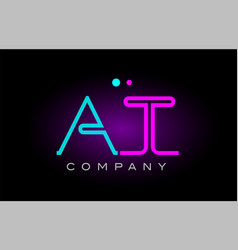 neon lights alphabet at a t letter logo icon vector image vector image