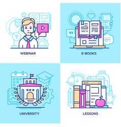 online education - set line design style vector image