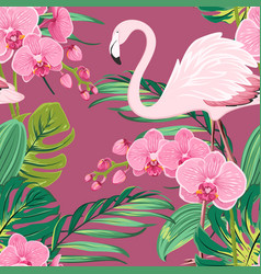 Orchid flower flamingo tropical leaves pattern vector