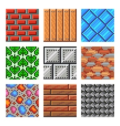 Pixel seamless textures for games icons set vector
