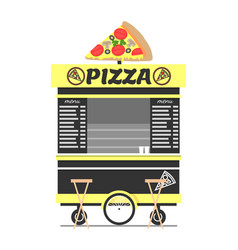 pizza cart street food shop vector image