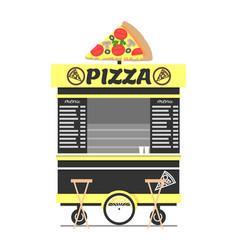 Pizza cart street food shop vector