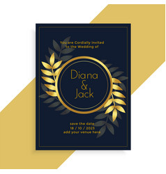 premium golden leaves wedding card design vector image