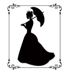 princess silhouette in retro patterned frame vector image