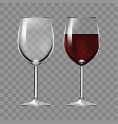 Realistic big reds wine and empty glass vector