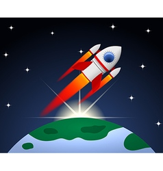 Red and white cartoon steel rocket vector image