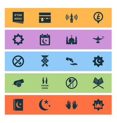 Religion icons set collection of lamp building vector