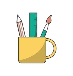 Ruler pencil and paint brush inside mug design vector