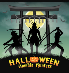 samurai zombie hunter with japan style temple gate vector image