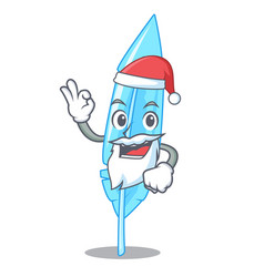 Santa feather mascot cartoon style vector