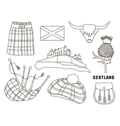 scotland country set icons vector image