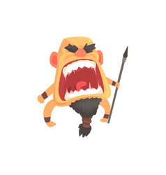 Screaming warrior attacking with spear furious vector
