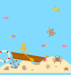 Seabed brown boat and anchor vector