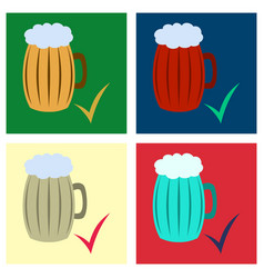 Set beer in glass cup refreshing drink vector