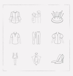 set of clothes icons line style symbols with short vector image