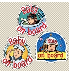 set of stickers baby on board vector image