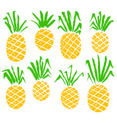 set with pineapples isolated fruits vector image