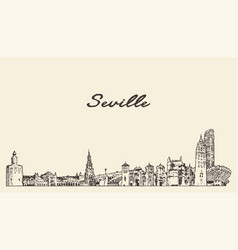 seville skyline spain hand drawn sketch vector image