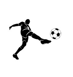 silhouette a football player with ball vector image