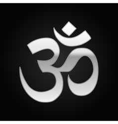 Silver sign om symbol of buddhism and hinduism vector