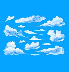 Sky clouds set on blue background vector