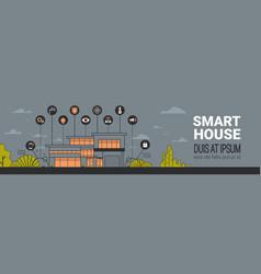 Smart home infographics horizontal banner modern vector