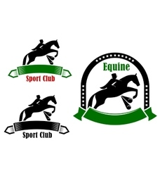 Sporting emblems of equestrian club vector image