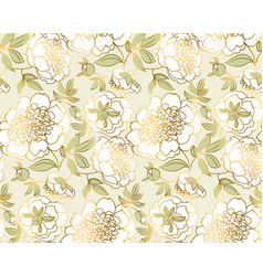 Tender white peony flower seamless pattern vector