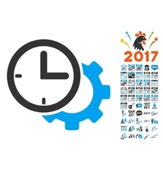 Time setup gear icon with 2017 year bonus vector
