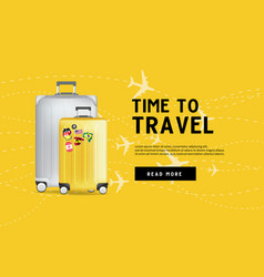 time to travel traveling luggage bag banner vector image