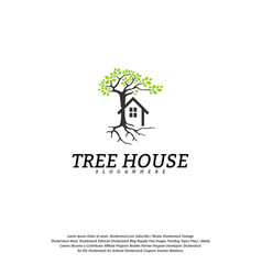 tree house logo template leaf house logo vector image